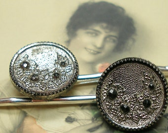 1800s BUTTON hair pins, Victorian black glass with FLOWERS on silver bobby pins, hair grips.