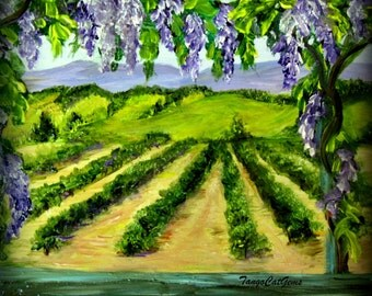 The Wisterias and Vineyards  Hand Painted Ceramic Tile