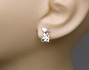 Sterling Silver Earrings Kitty Cat Pet Ear Studs no. 3500
