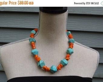 Blue Turquoise Orange Coral unique Necklace OOAK unique artisan necklace