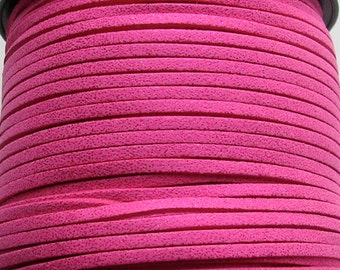 Suede Lace Faux Leather Jewelry Cord (C87) Metallic Shimmer Hot Pink 15 feet - 5 yards  for Crafts Boho Jewelry Bracelets Necklace Stringing