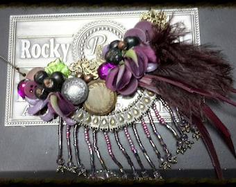 "Vineyard Inspired ""Vina Del Mar"" Assemblage Purple Grapes and Feathers Bib Necklace"