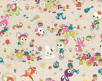 HALF YARD Honey Tune - Outdoor Playtime on STONE Tan 40568-80 - Bicycle, Garden, Music, Bunny, Deer, Squirrel, Hearts - Lecien - Japanese