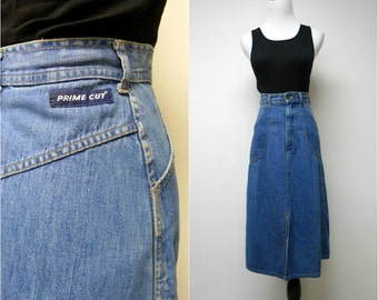 PRIME CUT . 1970s vintage denim . high waist . A-line skirt . size 5 / 6