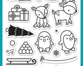 Lawn Fawn Clear Photopolymer Rubber Stamp set- toboggan together