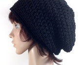 Crochet Super Slouch Beanie Hat in Jet Black - Unisex