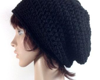 Crochet Super Slouch Beanie Hat in Jet Black - Unisex