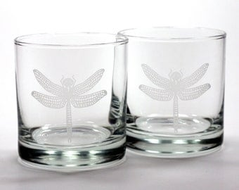 Dragonfly Lowball Glasses