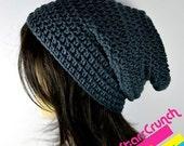 Sale 40% Off Slouchy Beanie Crochet Hat in Charcoal Grey