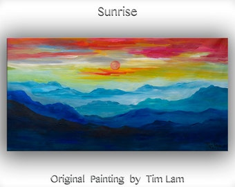 Mountain skyline Oil Painting,Original Abstract Painting blue skyline Landscape Painting Rising Sun by tim lam 48x24x1.3