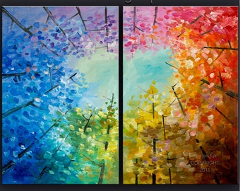 Original art Large modern impasto textured abstract 48x 36 canvas Autumn landscape painting Ready to Hang by tim lam