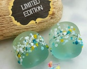 Lampwork Beads Pale Lemon and Blue Fresh Breeze Blossom Pair Limited Edition