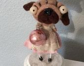 Christmas Pug  Needle felted ooak  art doll