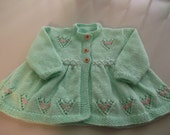 Hand Knit Baby Matinee Coat Hearts Baby Sweater Coat