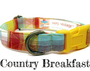 """Yellow Green Red Rustic Country Preppy Plaid Dog Collar - Organic Cotton Dog Collar - All Antique Brass Hardware - """"Country Breakfast"""""""