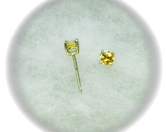 4mm Citrine Gemstones in 925 Sterling Silver Stud Earrings