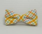 Orange and Blue Summer Plaid Boy's Bow Tie, Children's Bowtie, Toddler Bow Tie, Baby Tie, Teen Bowtie, Wedding