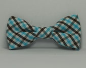 Aqua Blue and Brown Plaid Boy's Bow Tie, Children's Bowtie, Wedding, Baby Bowtie, Teen, Toddler, Brown and Blue Bowtie