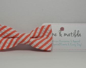 Coral Boy's Bow tie, Coral and White Striped Seersucker Bowtie, Toddler, Baby, Boy, Teen Bowtie