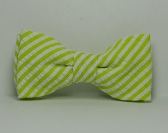 Lime Green Boy's Bow tie, Lime and White Striped Seersucker Bowtie, Toddler, Baby, Boy, Teen Bowtie