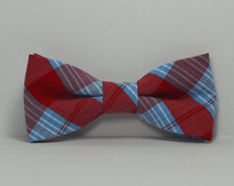Boy's Bow tie, Red and Blue Plaid Bowtie, Toddler, Baby, Boy, Teen Bowtie, Patriotic Bow tie