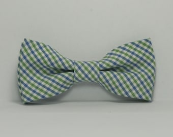 Boy's Bow Tie, Blue and Green Plaid Bowtie, Children's Bow Tie, Pastel Tie, Preppy, Toddler, Baby, Teen, Wedding