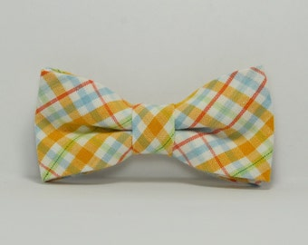 Orange and Blue Summer Plaid Boy's Bow Tie, Children's Bowtie, Toddler Bow Tie, Baby Tie, Teen Bowtie, Wedding