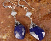 SAPPHIRE LEAF - OOAK One Of A Kind - Faceted Sapphire Sterling Silver Earrings With Opal Rondelles