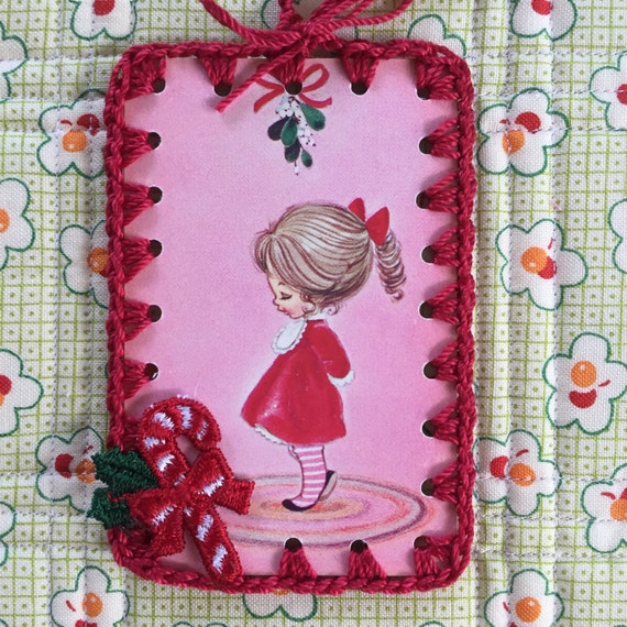 Vintage Playing Card Book Mark / Ornament / Tag - Mod Mistletoe Girl