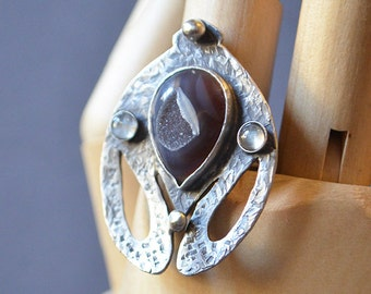 Queen Beetle Shield Ring Made With A Druzy Quartz