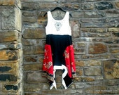 FREE U.S. SHIPPING ~ M - XL Medallion Dress in Black & Oriental Red/ lagenlook/mother of the bride/ boho chic / wearable art ~by mia baggali