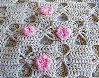 Vintage Ivory Afghan Throw Blanket with Soft Pink Flowers