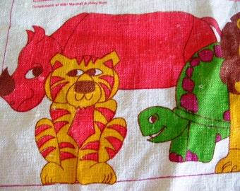 Vintage 1979 Linen Cloth Calendar with Bright Kawaii Animals