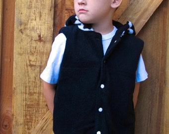 Childrens Hoody Sewing Pattern - Hooded Fleece Vest PDF Sewing pattern for children