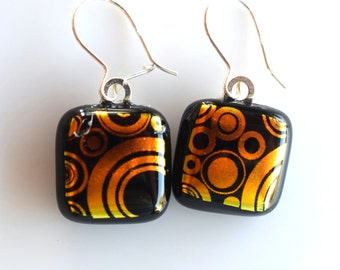 Pop Art Fused Dichroic Glass Dangle Earrings On Sterling Silver Wires Red, Gold and Black