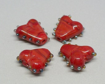 SRA Handmade Lampwork Glass Beads  by Catalinaglass  Valentine Hearts