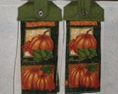 SET of 2 - Hanging Cloth Top Kitchen Hand Towels - Green Scroll Print - Fall Harvest Print Towels