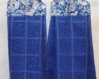 SET of 2 - Hanging Cloth Top Kitchen Hand Towels - BLUE Rose Print - BLUE Towels
