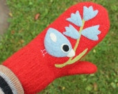 SALE Felted mittens red wool hand knit with needle felted light blue birdie birds flowers size medium-LARGE