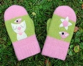 SALE Felted mittens pink green wool hand knit with two needle felted birdie kitten flower size medium-large