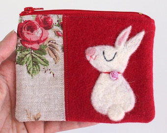 Zippered coin purse pouch purse red wool rosy linen fabric with a needle felted white bunny rabbit