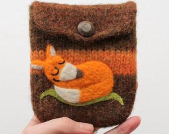 Felted pouch purse moss green orange wool bag cozy hand knit needle felted little sleeping fox