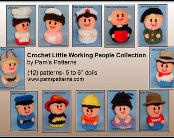 Crochet Little Working People Dolls, ballerina, cowboy, waitress