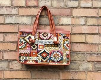 Vintage tribal aztec Turkish  kilim style tote bag