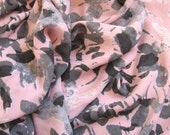 """new 100% silk, crepe georgette fabric -- soft pink, grays, abstract floral print -- 45"""" wide -- price is BY THE YARD (6 yards available)"""