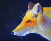 Fox Portrait Painting, Original Oil, 5x7 Canvas, Animal Face, Orange Creature, Woodland Canine, Blue Gray White, Small Furry, Whiskers