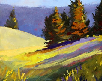 Landscape Painting, Mountain Field, Evergreen Trees, Original 11x14 Canvas, Acrylic Wall Decor, Oregon Rural Scene, Purple, Green, Yellow