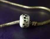 Large Hole Lampwork Glass Bead Dancing Notes #577 SRA