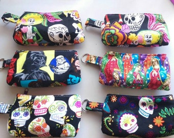 Zippered coin purse pouch key chain. Star Wars, day of the dead