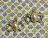 Stunning Rhinestone and Pearl Bow Shape Silver Tone New Vintage Stock Shoe Clips Lot 17